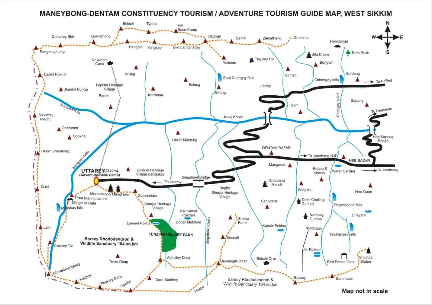 map of uttrey  maneybong dentam constituency tourismadventure  - click to zoom